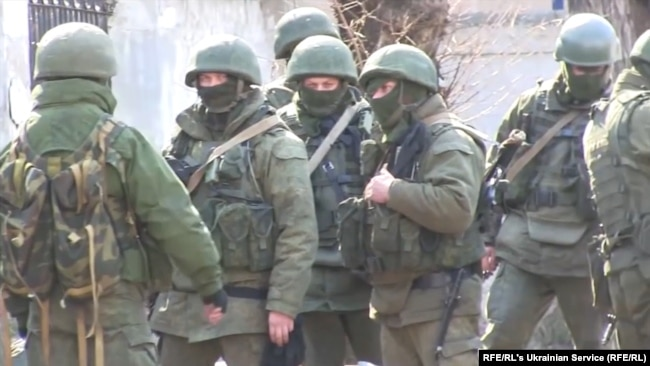 "Russia's ""Little Green Men,"" troops without identifying insignia, were used to facilitate the Crimean ""referendum"" to justify Russian annexation"