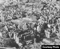 Poland - The Polish city of Warsaw was destroyed by the end of the Second World War. In this picture ruins of the Old Town Market Square can be seen.