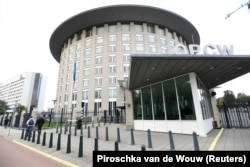 NETHERLANDS -- The headquarters of the Organization for the Prohibition of Chemical Weapons (OPCW) is pictured in The Hague, October 4, 2018