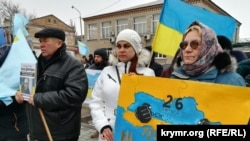 UKRAINE -- A rally dedicated to the Day of resistance of the Crimea. Henichesk (Kherson Oblast), 26Feb2019