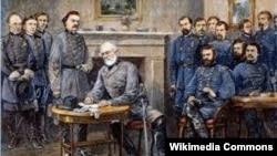 A painting of Confederate Army Commander Robert E. Lee signing the surrender agreement at Appomattox Court House, ending the American Civil War