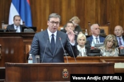 Serbia - Belgrade - Serbian President Aleksandar Vučić presenting report on Kosovo in Serbian parliament - May 27th 2019