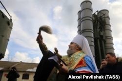 UKRAINE – Metropolitan Platon of Feodosia and Kerch blesses Russian air-defense system S-400 deployed in Feodosia, Crimea, January 14, 2017