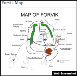 "Map of Forvik Island on the ""official website"""