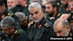 IRAN -- Revolutionary Guard Gen. Qassem Soleimani, center, attends a meeting in Tehran, September 18, 2016