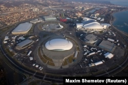 RUSSIA -- An aerial view from a helicopter shows the Olympic Park under construction in the Adler district of the Black Sea resort city of Sochi, December 23, 2013. Sochi will host the 2014 Winter Olympic Games in February.