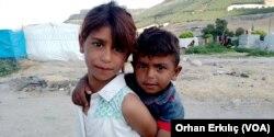 Syrian children in the refugee camp in Turkey