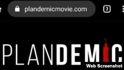 "Web page promoting a video documentary ""Plandemic: The Hidden Agenda Behind Covid-19."""