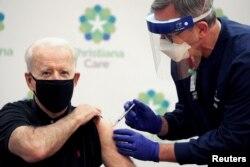 U.S. President-elect Joe Biden receives his second dose of a vaccine against the coronavirus disease (COVID-19) at ChristianaCare Christiana Hospital in Newark, Delaware, U.S. on January 11, 2021.
