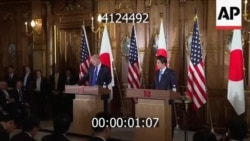 US President Donald Trump and Japanese Prime Minister Shinzo Abe at press conference, November 6, 2017